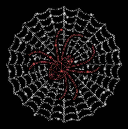 Flare mesh spider net with glitter effect. Abstract illuminated model of spider net icon. Shiny wire frame polygonal network spider net. Vector abstraction on a black background. Ilustração