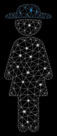 Glossy mesh standing lady with lightspot effect. Abstract illuminated model of standing lady icon. Shiny wire carcass polygonal mesh standing lady. Vector abstraction on a black background. Illustration