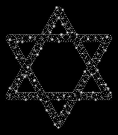 Glossy mesh star of David with glare effect. Abstract illuminated model of star of David icon. Shiny wire carcass polygonal mesh star of David. Vector abstraction on a black background.