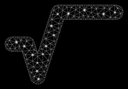 Flare mesh sqrt with sparkle effect. Abstract illuminated model of sqrt icon. Shiny wire carcass polygonal mesh sqrt. Vector abstraction on a black background.