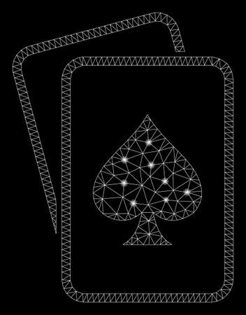 Glowing mesh spade gambling cards with glow effect. Abstract illuminated model of spade gambling cards icon. Shiny wire frame polygonal mesh spade gambling cards. Çizim