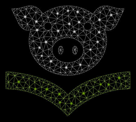 Glowing mesh pig knowledge with glitter effect. Abstract illuminated model of pig knowledge icon. Shiny wire carcass polygonal mesh pig knowledge. Vector abstraction on a black background. 向量圖像