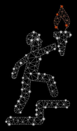 Glowing mesh soldier climbing with torch with glitter effect. Abstract illuminated model of soldier climbing with torch icon. Shiny wire carcass triangular mesh soldier climbing with torch.