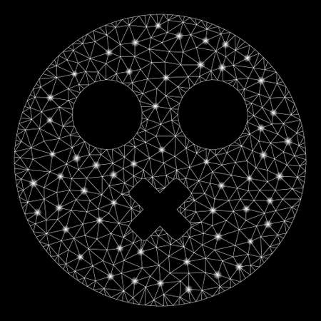 Glowing mesh mute smiley with sparkle effect. Abstract illuminated model of mute smiley icon. Shiny wire frame polygonal mesh mute smiley. Vector abstraction on a black background. Ilustração