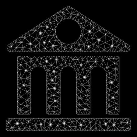 Glossy mesh museum building with sparkle effect. Abstract illuminated model of museum building icon. Shiny wire frame polygonal mesh museum building. Vector abstraction on a black background. Ilustração