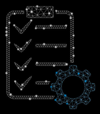 Glowing mesh smart contract gear with sparkle effect. Abstract illuminated model of smart contract gear icon. Shiny wire carcass triangular mesh smart contract gear.