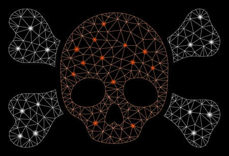 Glossy mesh skull and bones with lightspot effect. Abstract illuminated model of skull and bones icon. Shiny wire frame triangular mesh skull and bones. Vector abstraction on a black background.