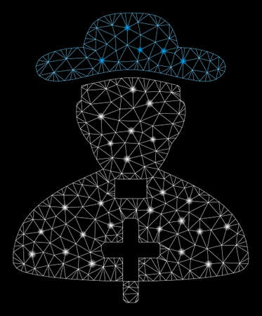 Glowing mesh priest with glare effect. Abstract illuminated model of priest icon. Shiny wire frame polygonal mesh priest. Vector abstraction on a black background. Иллюстрация
