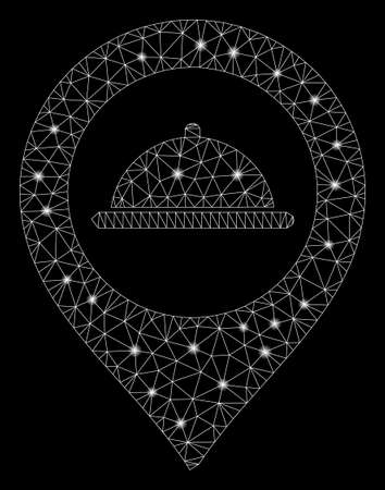 Glossy mesh meal marker with glitter effect. Abstract illuminated model of meal marker icon. Shiny wire carcass polygonal mesh meal marker. Vector abstraction on a black background.