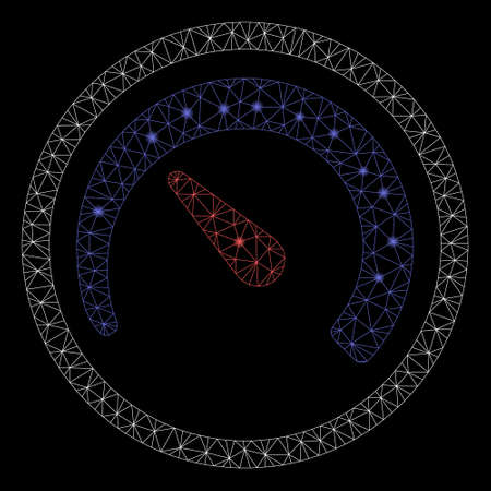 Glowing mesh speedometer with glare effect. Abstract illuminated model of speedometer icon. Shiny wire frame polygonal mesh speedometer. Vector abstraction on a black background. Çizim
