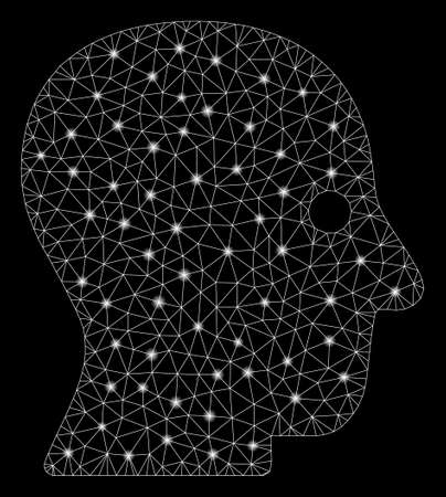 Glowing mesh silent head with glitter effect. Abstract illuminated model of silent head icon. Shiny wire carcass polygonal mesh silent head. Vector abstraction on a black background. Ilustração
