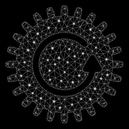 Glowing mesh rotate cog with sparkle effect. Abstract illuminated model of rotate cog icon. Shiny wire carcass polygonal mesh rotate cog. Vector abstraction on a black background. Illustration