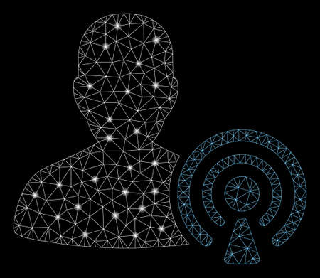 Glowing mesh podcast creator with glare effect. Abstract illuminated model of podcast creator icon. Shiny wire frame polygonal mesh podcast creator. Vector abstraction on a black background.