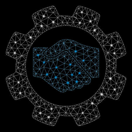 Flare mesh smart contract setup gear with glare effect. Abstract illuminated model of smart contract setup gear icon. Shiny wire frame polygonal mesh smart contract setup gear.