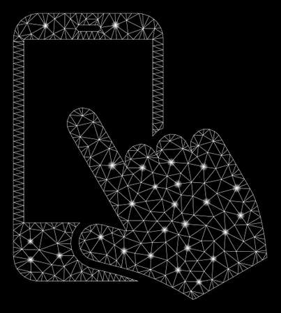 Glossy mesh smartphone point with glitter effect. Abstract illuminated model of smartphone point icon. Shiny wire carcass triangular mesh smartphone point. Vector abstraction on a black background.