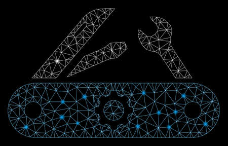 Glowing mesh swiss knife with glitter effect. Abstract illuminated model of swiss knife icon. Shiny wire carcass triangular mesh swiss knife. Vector abstraction on a black background. Иллюстрация
