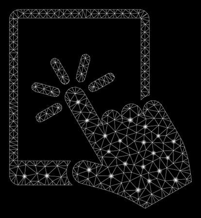Glossy mesh tablet click with glare effect. Abstract illuminated model of tablet click icon. Shiny wire carcass polygonal mesh tablet click. Vector abstraction on a black background. Ilustrace