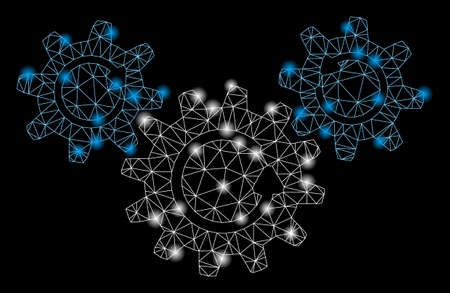 Glowing mesh transmission wheels rotation with lightspot effect. Abstract illuminated model of transmission wheels rotation icon. Shiny wire carcass polygonal mesh transmission wheels rotation.