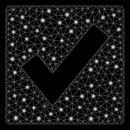 Glowing mesh valid with glitter effect. Abstract illuminated model of valid icon. Shiny wire frame triangular mesh valid. Vector abstraction on a black background. Ilustração