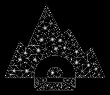 Glowing mesh mountain tunnel with glow effect. Abstract illuminated model of mountain tunnel icon. Shiny wire frame polygonal network mountain tunnel. Vector abstraction on a black background. Illusztráció