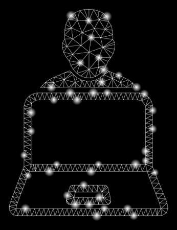 Flare mesh user laptop with glare effect. Abstract illuminated model of user laptop icon. Shiny wire frame triangular mesh user laptop. Vector abstraction on a black background.