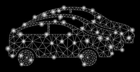 Glowing mesh car traffic with sparkle effect. Abstract illuminated model of car traffic icon. Shiny wire carcass polygonal mesh car traffic. Vector abstraction on a black background.