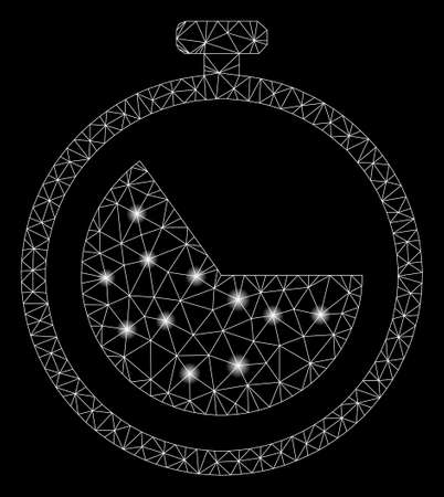 Flare mesh stopwatch with sparkle effect. Abstract illuminated model of stopwatch icon. Shiny wire frame triangular mesh stopwatch. Vector abstraction on a black background.