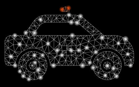 Flare mesh taxi car with glow effect. Abstract illuminated model of taxi car icon. Shiny wire carcass polygonal mesh taxi car. Vector abstraction on a black background.