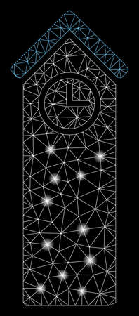 Flare mesh time tower with lightspot effect. Abstract illuminated model of time tower icon. Shiny wire carcass polygonal mesh time tower. Vector abstraction on a black background. Illusztráció