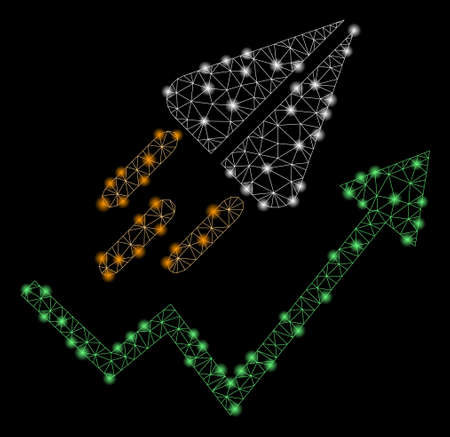 Glowing mesh ton launch trend arrow with sparkle effect. Abstract illuminated model of ton launch trend arrow icon. Shiny wire frame polygonal mesh ton launch trend arrow.