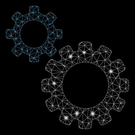 Glowing mesh transmission gears with glow effect. Abstract illuminated model of transmission gears icon. Shiny wire frame polygonal mesh transmission gears. Vector abstraction on a black background.