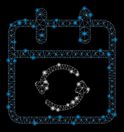 Glowing mesh update day with lightspot effect. Abstract illuminated model of update day icon. Shiny wire frame triangular mesh update day. Vector abstraction on a black background.