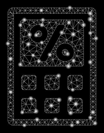 Glossy mesh tax calculator with glare effect. Abstract illuminated model of tax calculator icon. Shiny wire frame polygonal mesh tax calculator. Vector abstraction on a black background.
