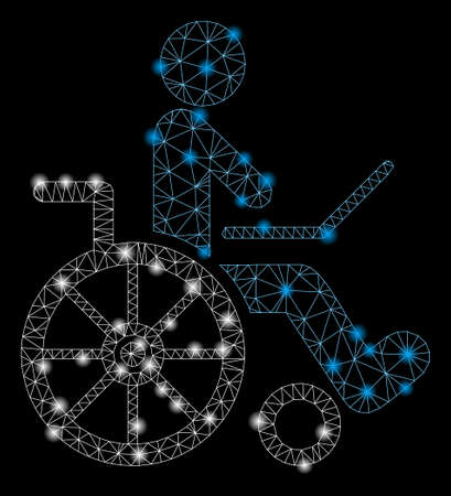 Flare mesh wheelchair with glow effect. Abstract illuminated model of wheelchair icon. Shiny wire carcass triangular mesh wheelchair. Vector abstraction on a black background. Иллюстрация