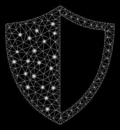 Glossy mesh shield with glitter effect. Abstract illuminated model of shield icon. Shiny wire carcass triangular network shield. Vector abstraction on a black background. Illustration