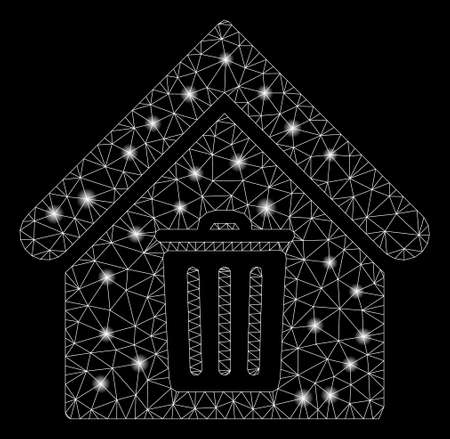 Bright mesh trash house with glare effect. Abstract illuminated model of trash house icon. Shiny wire carcass triangular mesh trash house. Vector abstraction on a black background. Illustration