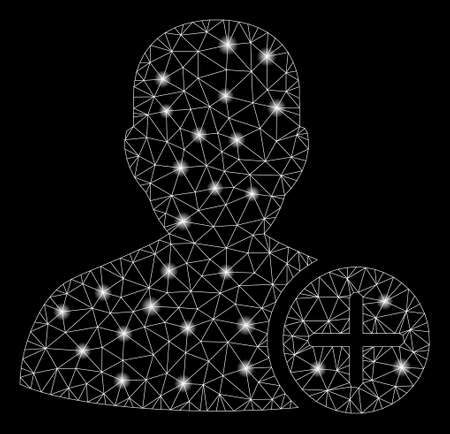 Glowing mesh user add with sparkle effect. Abstract illuminated model of user add icon. Shiny wire carcass polygonal mesh user add. Vector abstraction on a black background.  イラスト・ベクター素材