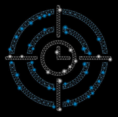 Glowing mesh time target with lightspot effect. Abstract illuminated model of time target icon. Shiny wire carcass polygonal mesh time target. Vector abstraction on a black background. Иллюстрация