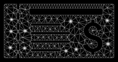 Glowing mesh ticket with glitter effect. Abstract illuminated model of ticket icon. Shiny wire frame polygonal mesh ticket. Vector abstraction on a black background. Illustration