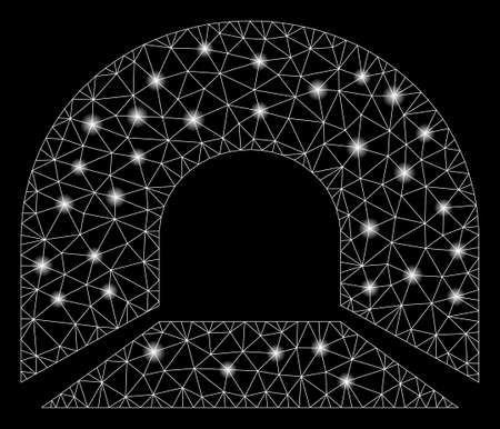 Flare mesh tunnel with glitter effect. Abstract illuminated model of tunnel icon. Shiny wire carcass polygonal mesh tunnel. Vector abstraction on a black background.