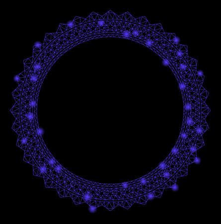 Bright mesh rosette circular star frame with glow effect. Abstract illuminated model of rosette circular star frame icon. Shiny wire carcass triangular mesh rosette circular star frame.