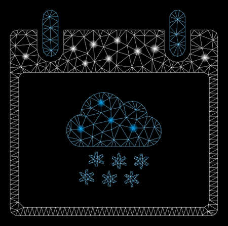 Glowing mesh snow cloud calendar day with lightspot effect. Abstract illuminated model of snow cloud calendar day icon. Shiny wire frame triangular mesh snow cloud calendar day.