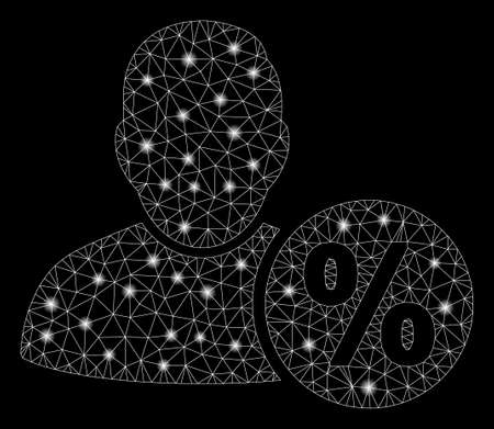 Glossy mesh user tax percent with glow effect. Abstract illuminated model of user tax percent icon. Shiny wire carcass polygonal mesh user tax percent. Vector abstraction on a black background. Stockfoto - 129877291