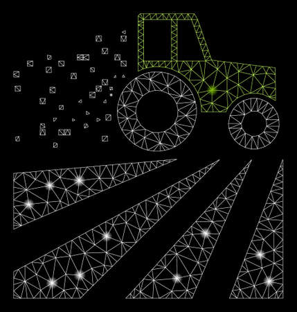 Glossy mesh tractor dust field with glitter effect. Abstract illuminated model of tractor dust field icon. Shiny wire frame triangular mesh tractor dust field. Illustration