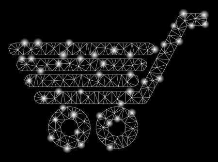 Glossy mesh trolley with lightspot effect. Abstract illuminated model of trolley icon. Shiny wire frame polygonal mesh trolley. Vector abstraction on a black background.