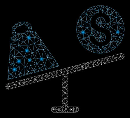 Glowing mesh trade swing with glare effect. Abstract illuminated model of trade swing icon. Shiny wire frame triangular mesh trade swing. Vector abstraction on a black background. Illustration