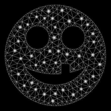 Glossy mesh toothless smiley with lightspot effect. Abstract illuminated model of toothless smiley icon. Shiny wire frame triangular mesh toothless smiley. Vector abstraction on a black background.