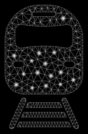 Bright mesh train with glare effect. Abstract illuminated model of train icon. Shiny wire carcass polygonal network train. Vector abstraction on a black background. Ilustracja