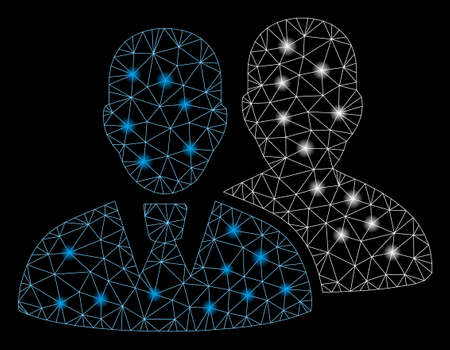 Flare mesh users with sparkle effect. Abstract illuminated model of users icon. Shiny wire frame triangular mesh users. Vector abstraction on a black background.