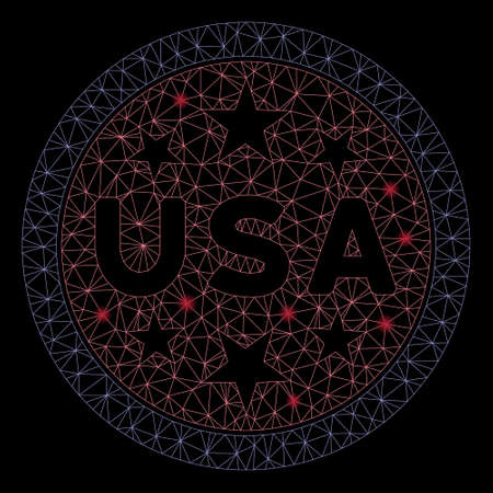 Glowing mesh USA stars symbol with sparkle effect. Abstract illuminated model of USA stars symbol icon. Shiny wire frame triangular mesh USA stars symbol. Vector abstraction on a black background.
